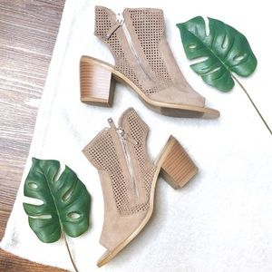 Block Heel Suede Ankle Booties/Open-Toed